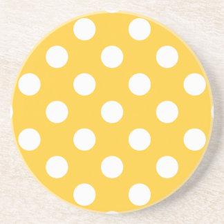 Polka Dots Yellow Beverage Coasters
