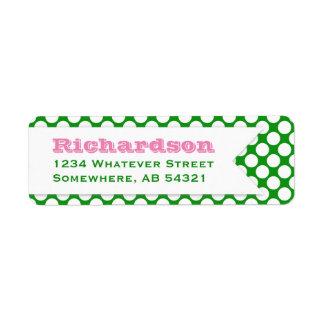 Polka Dotted Banner Big Name Pink Green Return Address Label