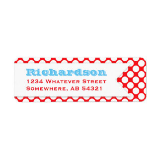Polka Dotted Banner Big Name RED BLUE WHITE Return Address Label