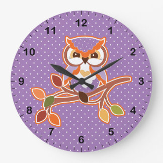 Polka Dotted Fall Owl Large Clock