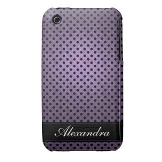 Polka Dotted Retro Purple Case-Mate iPhone 3 Case