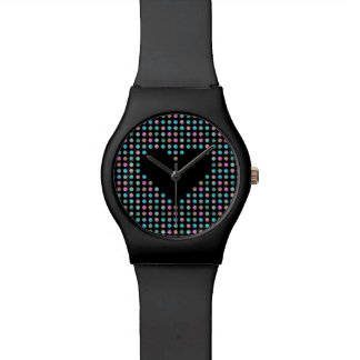 Polka dotted with black heart wrist watch