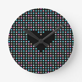Polka dotted with heart round clock