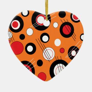 Polka Orange Ceramic Heart Decoration