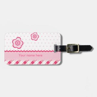 Polka pink bag tag