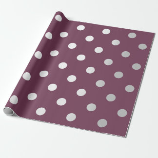 Polka Small Dots Maroon Plum Burgundy Silver Gray Wrapping Paper