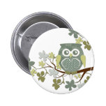 Polka Tree Owl Button