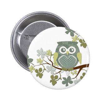 Polka Tree Owl Button