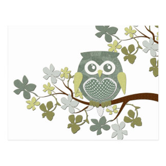 Polka Tree Owl Postcard
