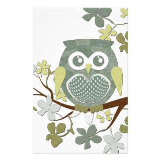 Polka Tree Owl Stationery