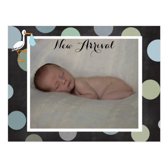 Polkadot Baby Boy Birth Announcement Postcard