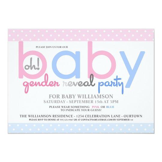 Polkadot Baby Gender Reveal Party Invitation