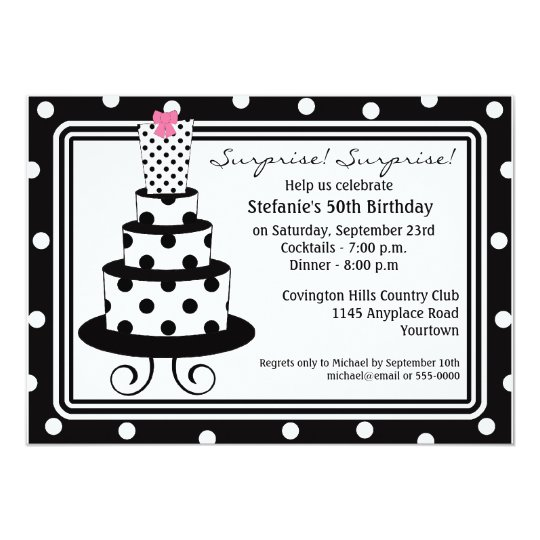 Polkadot Cake Surprise Birthday Invitation