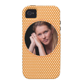 Polkadot Frame in orange Case-Mate iPhone 4 Covers