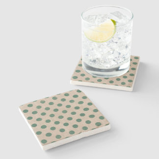 polkadot green holiday christmas coaster