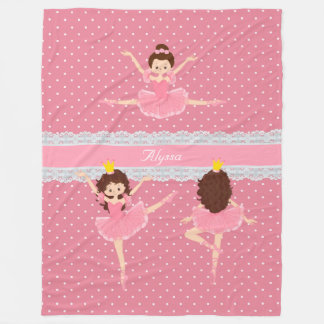 Polkadot Lace Pink Ballerina Pattern Fleece Blanket