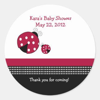 Polkadot Ladybug Baby Shower Favor Sticker