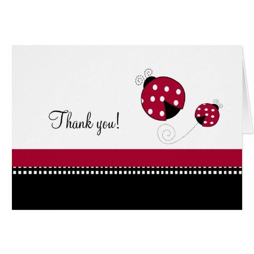 Polkadot Ladybug Folded Thank you notes Greeting Card