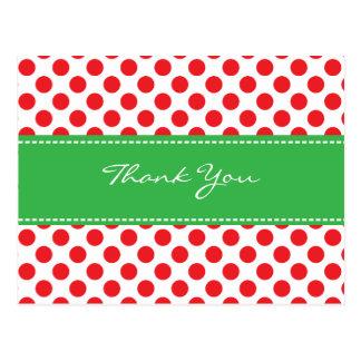 Polkadot/Ladybug Thank You Postcard-Green & Red Postcard