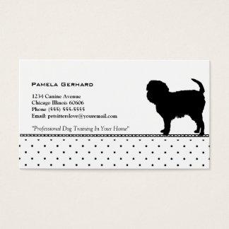 Polkadot Monogram Dog Silhouette Animal Related Business Card