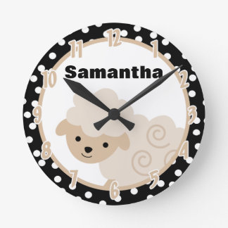 Polkadot Neutral Tan Country Farm Sheep Lamb Clock