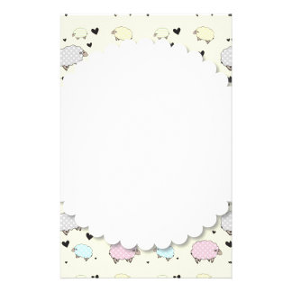 Polkadot Pastel Sheep Stationery Design
