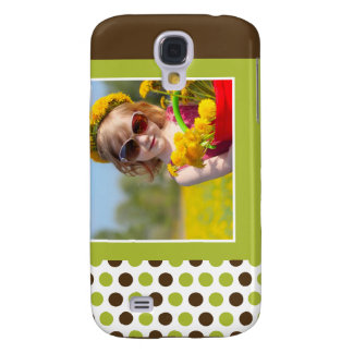Polkadot Photo Custom 3G (lime) Galaxy S4 Case