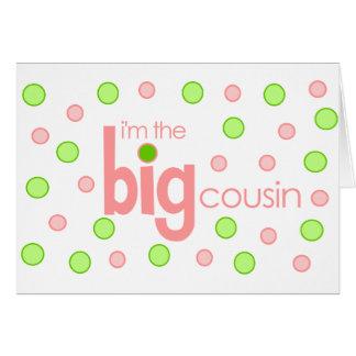 Polkadot pink and green Big Cousin T-shirt Card