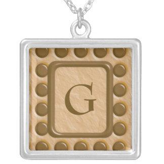 Polkadots - Chocolate Peanut Butter Square Pendant Necklace