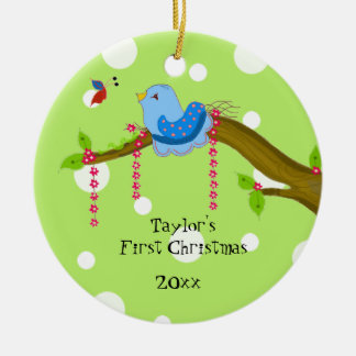 Polkda Dot Baby's First Christmas Round Ceramic Decoration