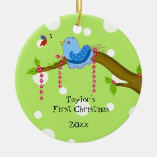 Polkda Dot Baby's First Christmas Round Ceramic Decoration