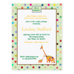 Polks Dots giraffes- baby shower invites(green) Post Cards