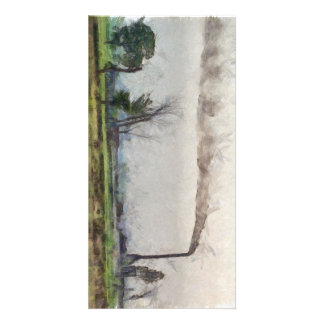 Pollution leaving a trail photo card template