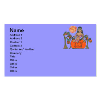 Polly Pumpkin Pop Up Patch Halloween Girl Double-Sided Standard Business Cards (Pack Of 100)