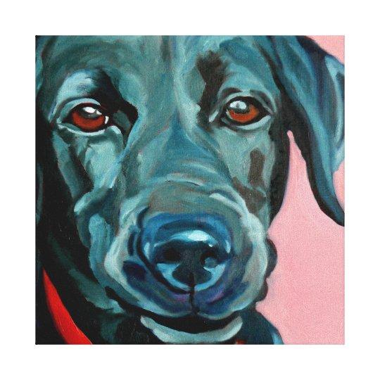 Polly the Black Labrador Retriever Dog Portrait Canvas