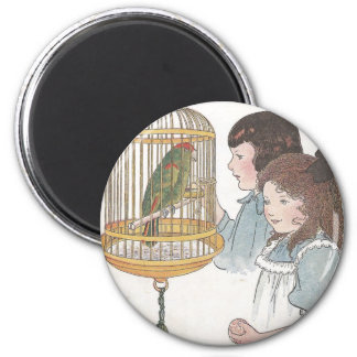 Polly the Parrot 6 Cm Round Magnet