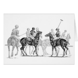 Polo Horse Match Drawing by Kelli Swan Card