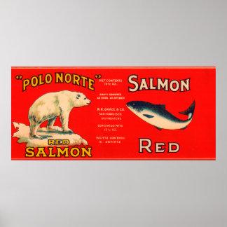 Polo Norte Brand Salmon Label- San Francisco, CA Poster