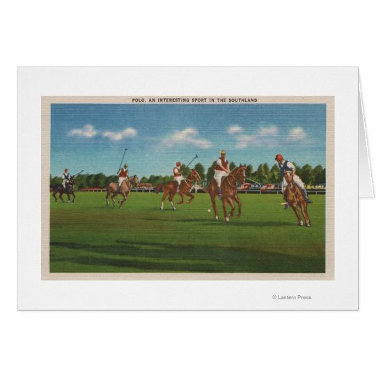 Polo Scene with Players and Horses on Lawn
