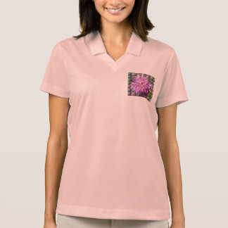Polo shirt pink - motive for flower