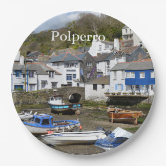 Polperro Cornwall England Low Tide Paper Plate