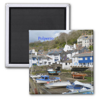 Polperro Cornwall England Low Tide Square Magnet
