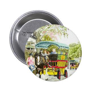 'Polperro Horse Bus' Button