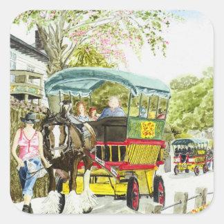 'Polperro Horse Bus' Square Sticker