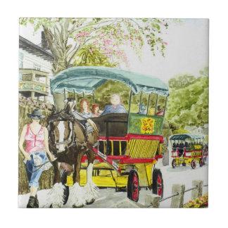 'Polperro Horse Bus' Tile