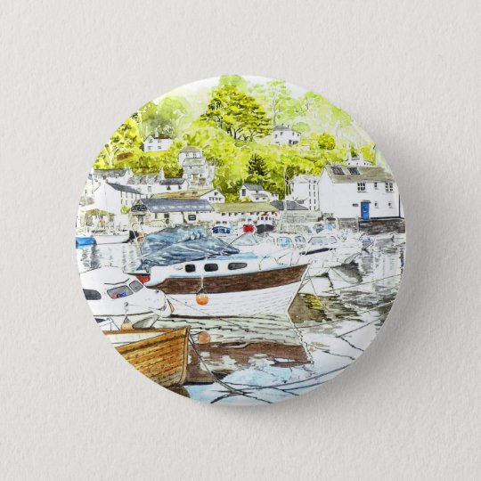 'Polperro Reflections' Button