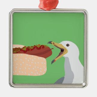pølse Silver-Colored square decoration