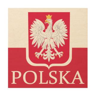 Polska Flag Coat of Arms Wood Print