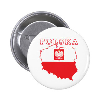 Polska Map With Eagle 6 Cm Round Badge