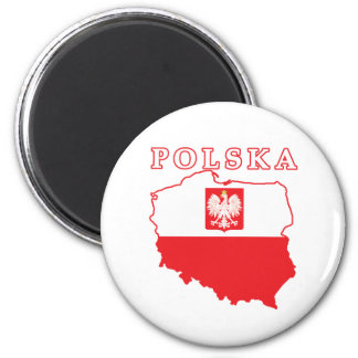 Polska Map With Eagle 6 Cm Round Magnet